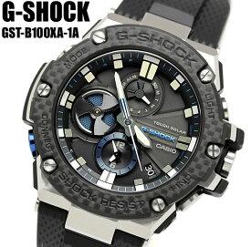 【アフターセール】G-SHOCK Gショック ジーショック G-STEEL Gスチール クロノグラフ カーボンベゼル Bluetooth モバイルリンク機能 逆輸入海外モデル カシオ CASIO アナログ 腕時計 ソーラー ブラック GST-B100XA-1A