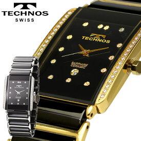 【送料無料】TECHNOS テクノス メンズ腕時計 クラシック セラミック ブラックダイヤル 本革ブレスセット T9557GB T9557TB