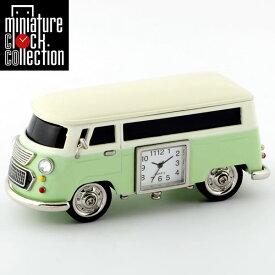 ミニチュア クロック 置時計 バス型 日本製クォーツ おしゃれ 小さい アナログ 卓上 インテリア デザイン かわいい 雑貨 レア アイテム ギフト C3159-GR