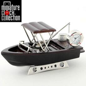 ミニチュア クロック 置時計 ボート型 日本製クォーツ おしゃれ 小さい アナログ 卓上 インテリア デザイン かわいい 雑貨 レア アイテム ギフト C3301-BR
