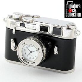 ミニチュア クロック 置時計 カメラ型 日本製クォーツ おしゃれ 小さい アナログ 卓上 インテリア デザイン かわいい 雑貨 ギフト C3348-BK
