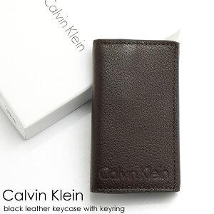 ≪訳あり特価≫Calvin Klein カルバンクライン キーケース メンズ 本革 レザー ロゴ ブランド ブラウン 茶 型押し Men's