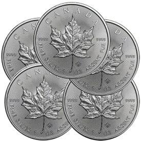 メイプルリーフ 銀貨 2020年 カナダ 1オンス 5枚 セット 38mm メイプル銀貨 純銀 インゴット 38mmクリアケース付き 新品未使用