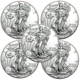 イーグル銀貨 2021年 アメリカ 1オンス 5枚 セット 純銀 インゴット 新品未使用 クリアケース付き