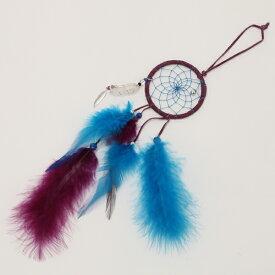 2.5インチ(6.3cm) ドリームキャッチャー DC621 本体色は青・黒・水色・紫  北米インディアンに伝わる神話/カナダ先住民の手作り 本当のドリームキャッチャー/カナダ製