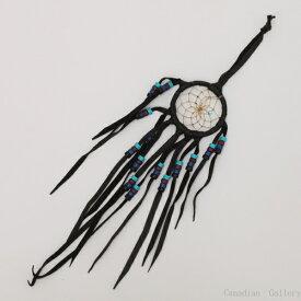 2インチ(5cm) フリンジ(総革製)&ビーズ ドリームキャッチャー DC362 ブラック色北米インディアンに伝わる神話/カナダ先住民の手作り 本当のドリームキャッチャー/カナダ製