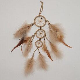 2.5インチ(6.3cm) 三連ドリームキャッチャーDC172 本体色はベージュ・ブラウン  北米インディアンに伝わる神話/カナダ先住民の手作り 本当のドリームキャッチャー/カナダ製