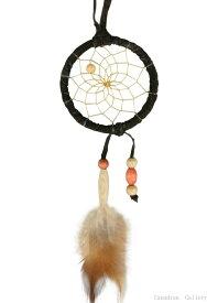 2インチ(5cm) ドリームキャッチャー DC102 本体色はベージュ・ブラック・ダークブラウン北米インディアンに伝わる神話/カナダ先住民の手作り 本当のドリームキャッチャー/カナダ製