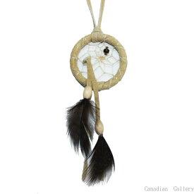1.5インチ(3.8cm) ドリームキャッチャー DC235 本体色はベージュ北米インディアンに伝わる神話/カナダ先住民の手作り 本当のドリームキャッチャー/カナダ製  【メール便可】