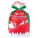 【メール便可】 【返品・キャンセル不可】 クリスマス リボン付きバッグ (XL メリークリスマス 1枚 サイズ:横46cm×…