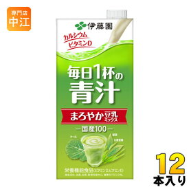 伊藤園 毎日1杯の青汁 まろやか豆乳ミックス 1L 紙パック 12本 (6本入×2 まとめ買い) 野菜ジュース