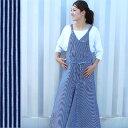 【V ヒッコリーサロペットスカート】レディースファッション サロペット スカート コットン ロング マキシ 肩紐調節可