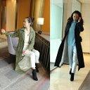 【 トレンチコート マキシ 】カーキ ネイビー 着丈約130cm レディースファッション アウター コート 羽織り