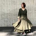 【 ギャザー バランス ワンピース 】羽織りやショートアウターと。揺れるAライン レディースファッション ワンピース マキシ ロング コットン 綿