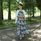 ◎◎△大人の夏の、花ワンピースライトブルー