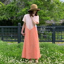 【 サマー V ワンピ ピーチ色 】 デコルテ綺麗なサマードレス アシンメトリー 個性的なコットン Aライン レディースファッション ワンピース マキシ ロング