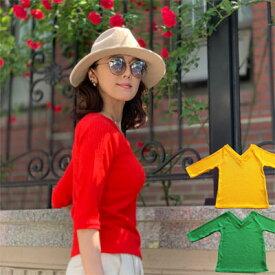 ◆ マスク 今おまけ付 <パケット便>【 五分袖 Vネック サマーニット 】レディース トップス Tシャツ 街の色に似合うフレッシュカラーだからインスタ映え 肌をキレイに見せ ボディ響きが目立ちにくい凸凹