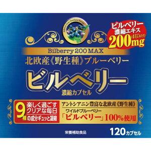 【店内P最大20倍】ビルベリー200 MAX 濃縮カプセル 120カプセル サプリメント アントシアニン アスタキサンチン