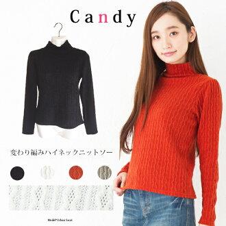 변화 하 길 쌈 하이 넥 니트 톱 여성/상판/니트/무지/스웨터/가을 겨울