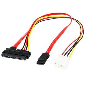 [送料無料]スリムドライブ用に最適付け替えてすっきり データと電源ケーブルが一つで抜けにくい一体型シリアルATAケーブル SATA一体コネクタ変換ケーブル SATA(メス)-4Pin電源コネクタ(オス)+SATAデータコネクタ(メス) シリアルATAケーブル自作用 PCパーツ slimline