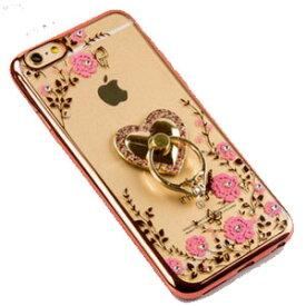 [送料無料]バンカーリング×ハートリングクリアケースiphone6s/6sPlus/iPhone6/6Plus/iPhone5/5SiPhoneSEiphoneケース可愛いアイフォンスマホケースビジューラインストーンデコレーションTPU素材キラキラソフトケースハードケースバンパーピンクゴールドモデル番号