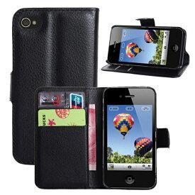 [送料無料]iPhone4/4S用スマホ(スマートフォン) 保護カバーケース 高級感あるPU革レザータイプ 手帳型 カード収納機能付きフリップケース お札収納ポケット付き モデル番号A1349 A1332 A1431 A1387