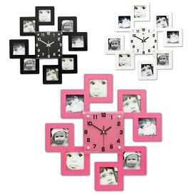 ★[海外][送料無料]シンプルデザイン 壁掛け時計 ウォールクロック フォトフレーム 写真(時計 壁掛け かけ時計 贈り物 インテリア デザイン 掛時計 壁掛け時計 DIY クロック オフィス ブラック/ホワイト/ピンク)大人気 流行