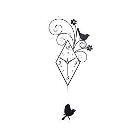★[送料無料]シルエット掛け時計[シンプルモダン]小鳥やお花が北欧テイストを演出 ウォールクロック かけ時計 クロック 掛時計 オフィス プレゼント 結婚 出産 お祝い 記念日 贈り物 振り子時計 アンティーク