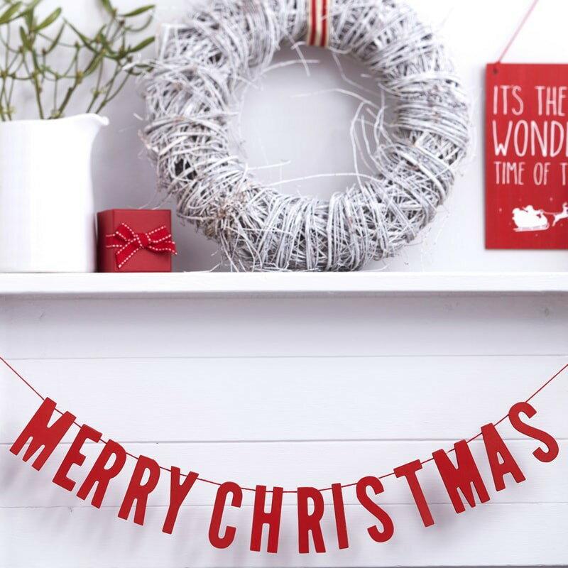 ロンドンから届いたMERRY CHRISTMAS ウッドガーランド  レッド