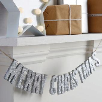 ロンドンから届いたMERRY CHRISTMAS ウッドガーランド シルバーグリッター