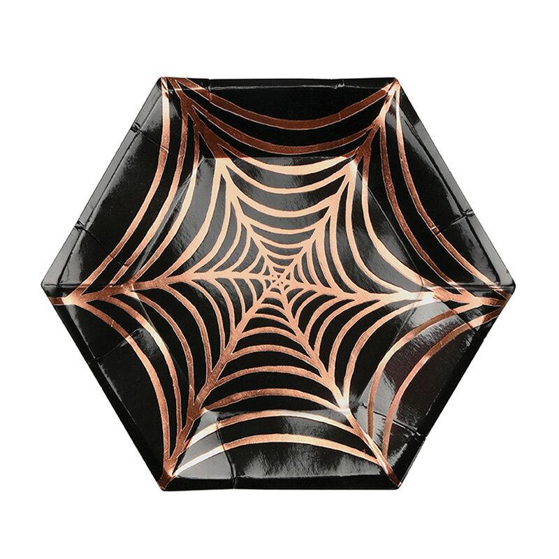 あす楽!【MERIMERI】蜘蛛の巣ハロウィンパーティープレート ブラック&ゴールド 8枚セット