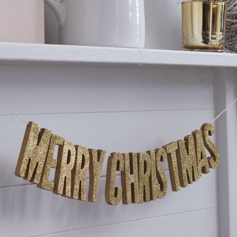 【GingerRay】ロンドンから届いたMERRY CHRISTMAS グリッターゴールド ウッドガーランド