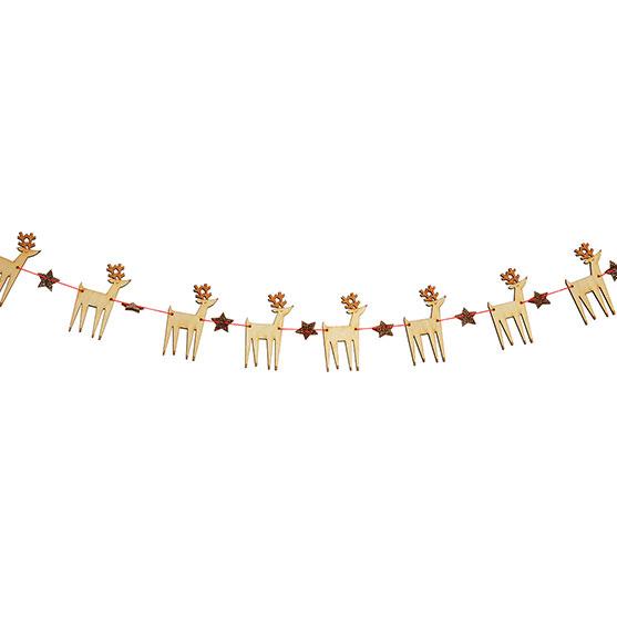 あす楽!【merimeri】クリスマス トナカイとお星さまのウッドガーランド 約1.8メートル