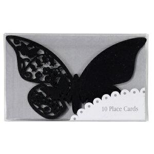★20%off【TalkingTables Pink Butterfly】ブラック ネームカード レーシングカット ちょうちょ 席札 パーティーデコレーション