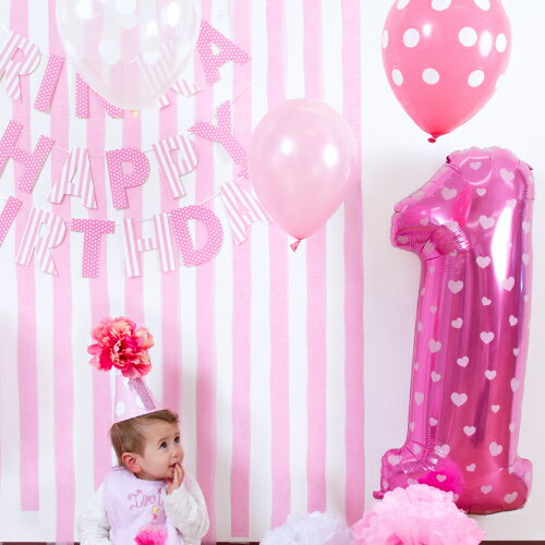 あす楽!ベビーのお名前ガーランドをプレゼント!大きな数字1のナンバーバルーンとドットバルーン8ピース、ファーストバースデーパーティーハット、HAPPY BIRTHDAY ガーランドのセット(ヘリウムガス無し) 1歳 誕生日 飾り付け お食い初め 一升餅 男の子 女の子