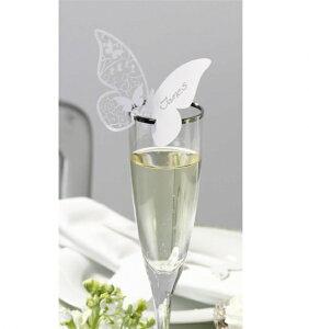 ★20%off【White Butterfly】ネームカード ホワイト バタフライ 席札 ちょうちょ カットレース パーティーデコレーション テーブルウェア ブライダル