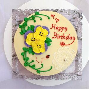 3つのパンジーのケーキ 5号【ケーキ インスタ映え ケーキ スイーツ バタークリームケーキ バタークリーム 誕生日ケーキ バースデーケーキ ホールケーキ 美味しいケーキ 冷凍ケーキ 花 レモ