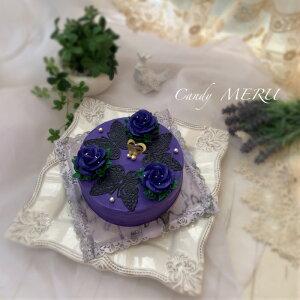 紫のばらと蝶のケーキ 5号【ケーキ インスタ映え お取り寄せスイーツ バタークリームケーキ 誕生日ケーキ バースデーケーキ ホールケーキ 美味しい 花 バラ 食べられるフラワーケーキ おし