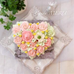 バラのハート型ケーキ(チーズケーキ味)5号【ケーキ インスタ映え お取り寄せスイーツ バタークリームケーキ 誕生日ケーキ バースデーケーキ ホールケーキ 美味しい 花 バラ 食べられる