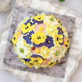 お花のドーム型ケーキ(チーズケーキ味)5号【ケーキ インスタ映え お取り寄せスイーツ バタークリームケーキ 誕生日ケーキ バースデーケーキ ホールケーキ 美味しい 花 バラ 食べられるフラワーケーキ おしゃれ バタークリーム かわいい ギフト フォトジェニック】