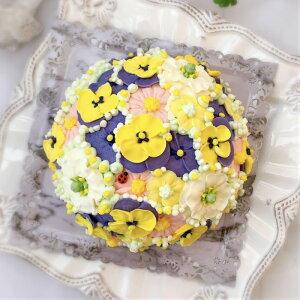 お花のドーム型ケーキ(チーズケーキ味)5号【ケーキ インスタ映え お取り寄せスイーツ バタークリームケーキ 誕生日ケーキ バースデーケーキ ホールケーキ 美味しい 花 バラ 食べられる