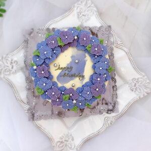 スモールブルーのフラワーリースのケーキ ( チーズケーキ 味 ) 5号 【 ケーキ バタークリームケーキ バタークリーム 誕生日ケーキ バースデーケーキ インスタ映え スイーツ ケーキ 花 誕