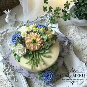 花束のリアルフラワーケーキ(チーズケーキ味)【ケーキ インスタ映え ケーキ スイーツ バタークリームケーキ 誕生日ケーキ バースデーケーキ ホールケーキ 美味しいケーキ 花 バラ チー