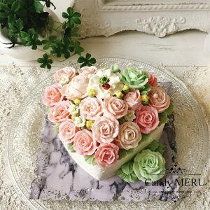 バラのハート型ケーキ(チーズケーキ味)【ケーキ インスタ映え ケーキ スイーツ バタークリームケーキ 誕生日ケーキ バースデーケーキ ホールケーキ 美味しいケーキ 花 バラ チーズケー
