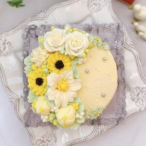 花畑のケーキ ( チーズケーキ 味 ) 5号 【 ケーキ バタークリームケーキ バタークリーム 誕生日ケーキ バースデーケーキ インスタ映え スイーツ ケーキ 花 誕生日 サプライズ ケーキ 記念