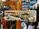 アメリカ ブリキ看板 バステッドナックルガレージ ルーブリケイティングサービスのU.S.ヘヴィースチールサイン ■ サ…