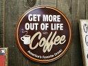 コーヒーショップのU.S.ヘヴィースチールサイン(ラウンド/Mサイズ) ■ アメリカ雑貨 アメリカン雑貨