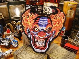 アメリカンバイカーズワッペン(Angry Clown) ■ 自分仕様だから愛着も強くなる!アメリカ雑貨屋 アメリカン雑貨 おしゃれ アルファベット エンブレム アメ雑貨 アイロン 手芸 クラフト パッチ 人気 刺繍 接着 カッコイイ ファッション