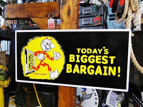 レディ・キロワットのガレージサイン(BIGGEST BARGAIN!) ■ アメリカ雑貨 アメリカン雑貨 アメ雑貨 アメ雑