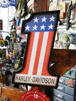 ハーレーダビッドソン#1レーシングのウッドサイン(ダイカットモデル)★アメ雑★アメリカ雑貨★アメリカン雑貨